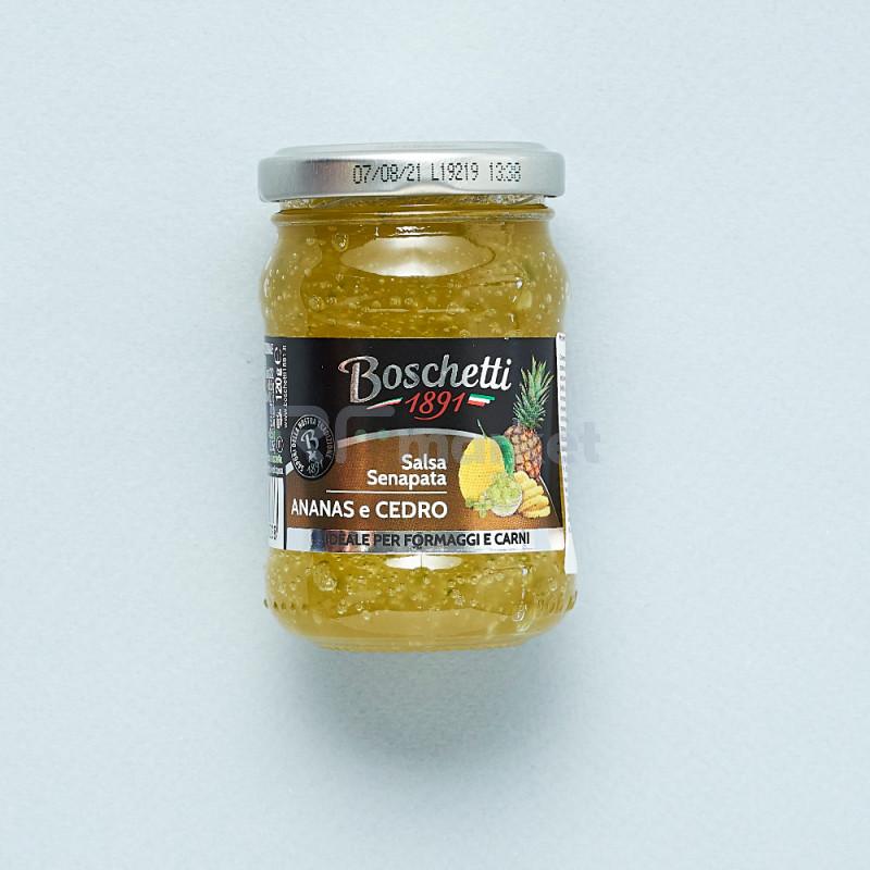 """Фруктовая горчица из Ананаса и Кедра """"Boschetti""""соус для сыра и мяса (180 гр)"""