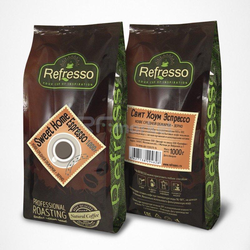 Свит Хоум Эспрессо зерно, 1000 гр., Рефрессо/Refresso