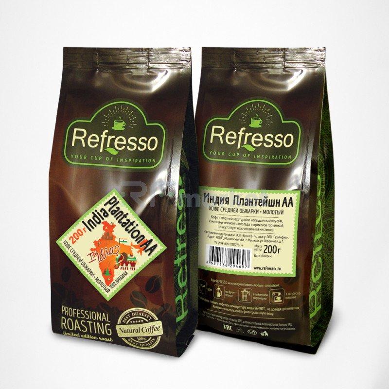 Индия Плантейшн АА кофе моносорта молотый, 200 гр., Рефрессо/Refresso