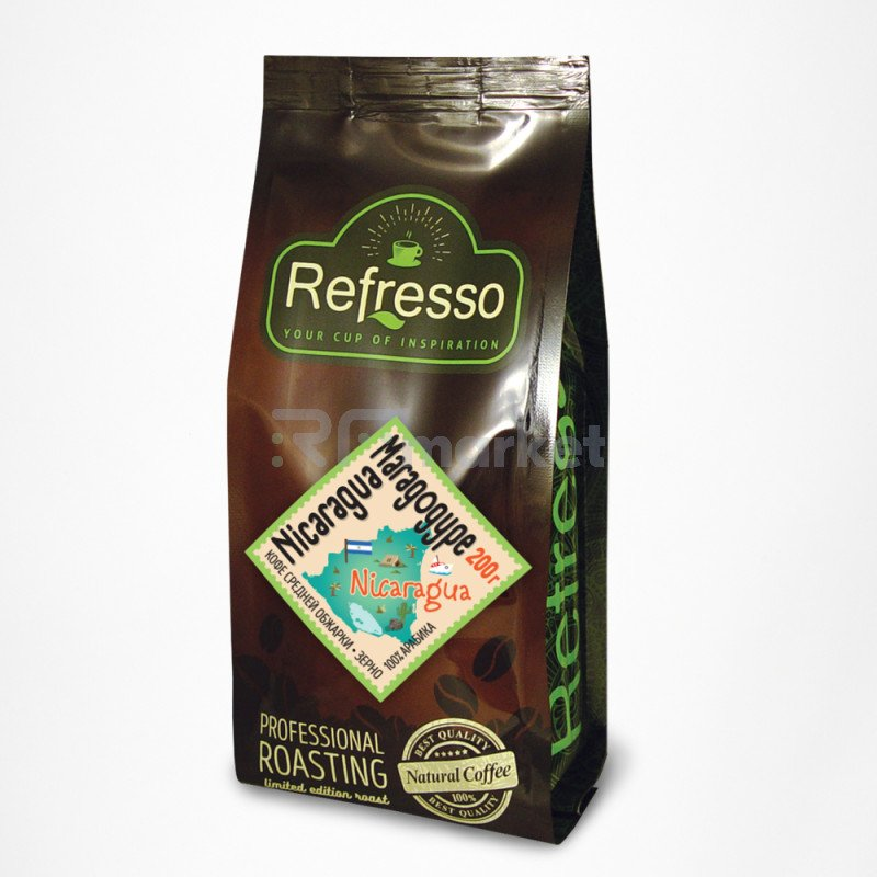 Никарагуа Марагоджип кофе моносорта зерно, 200 гр., Рефрессо/Refresso