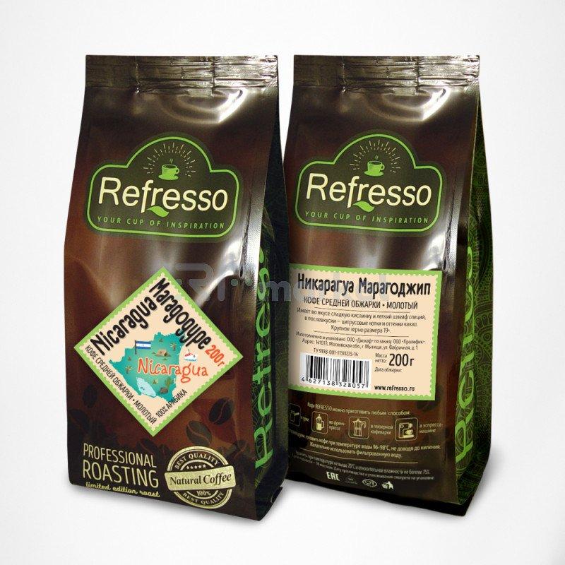 Никарагуа Марагоджип кофе моносорта молотый, 200 гр., Рефрессо/Refresso