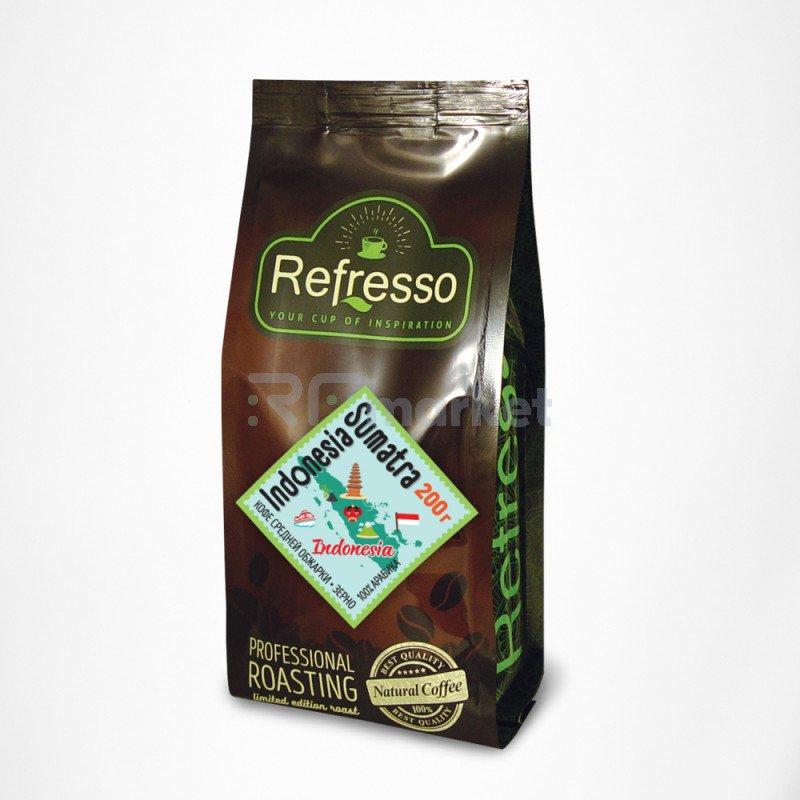 Индонезия Суматра кофе моносорта зерно, 200 гр., Рефрессо/Refresso