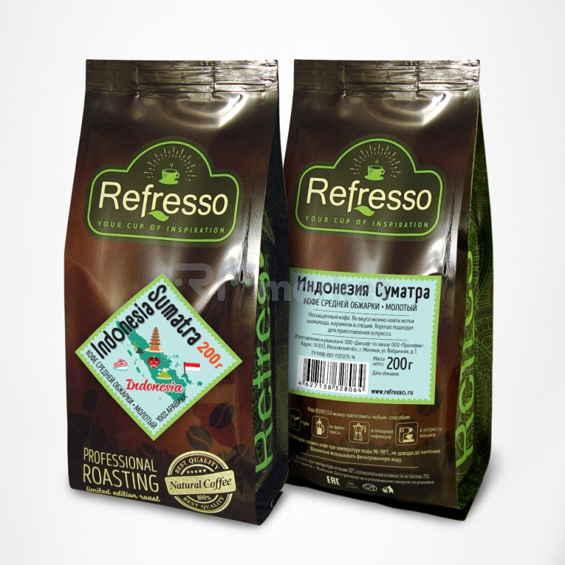 Индонезия Суматра кофе моносорта молотый, 200 гр., Рефрессо/Refresso