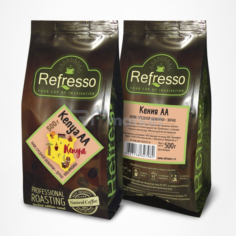 Кения АА кофе моносорта зерно, 500 гр., Рефрессо/Refresso