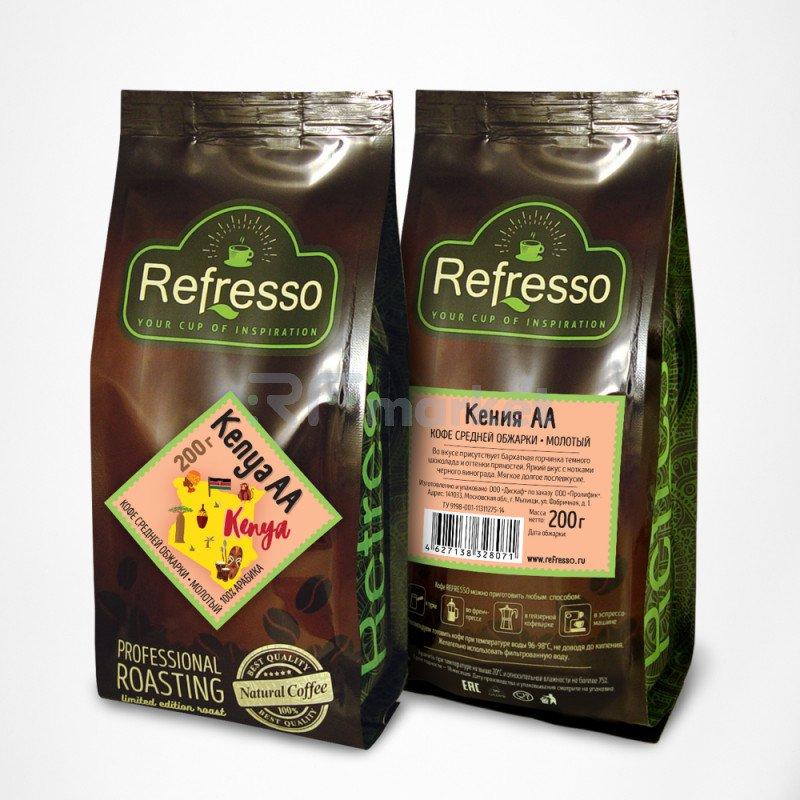 Кения АА кофе моносорта молотый, 200 гр., Рефрессо/Refresso