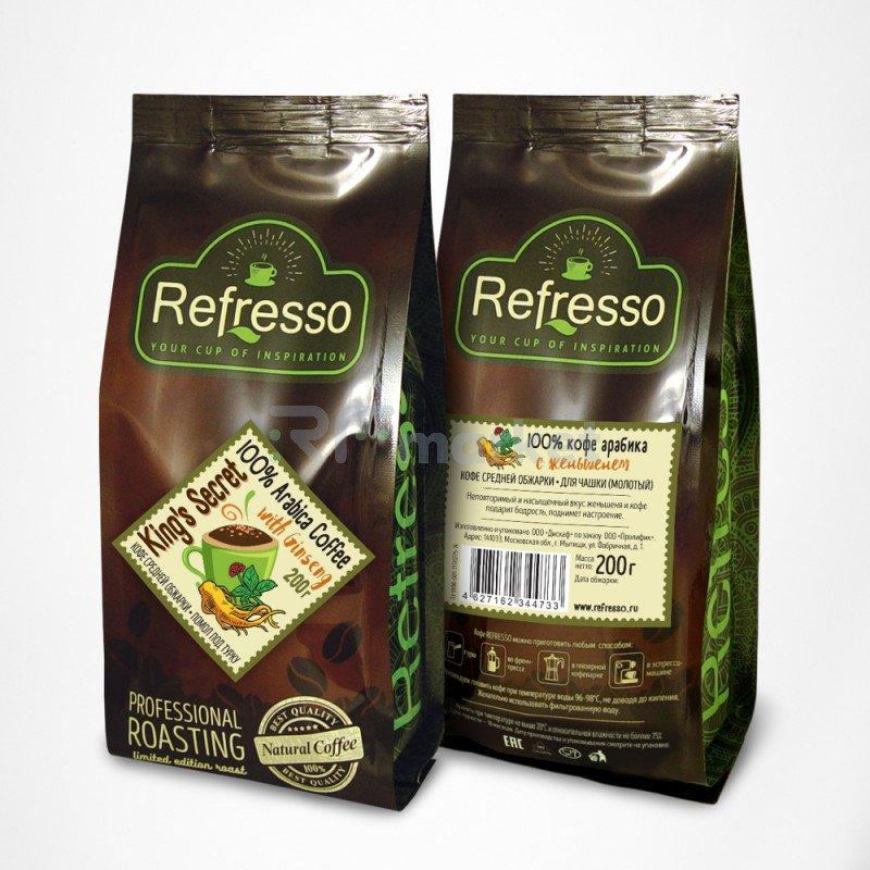 Кингз секрет кофе с женьшенем молотый под турку, 200 гр., Рефрессо/Refresso