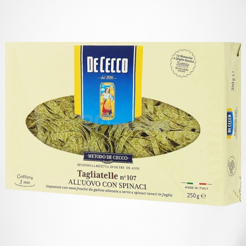 Макароны Тальятелле №107 со шпинатом, Де Чекко/De Cecco, Италия