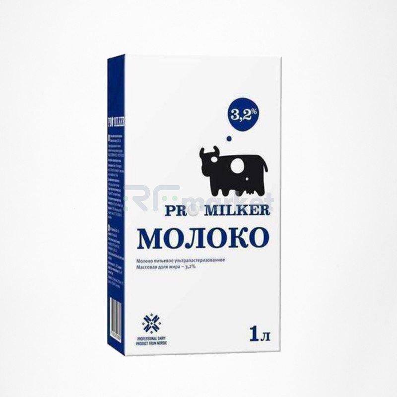 Молоко ультрапаст. 3.2% 1л*12, Промилкер/Promilker