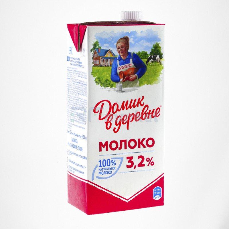 Молоко Домик в деревне 3,2% 950 г 1*12