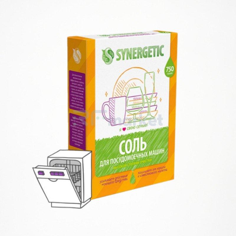 Соль Synergetic высокой степени очистки природного происхождения для посудомоечной машины, 750 г