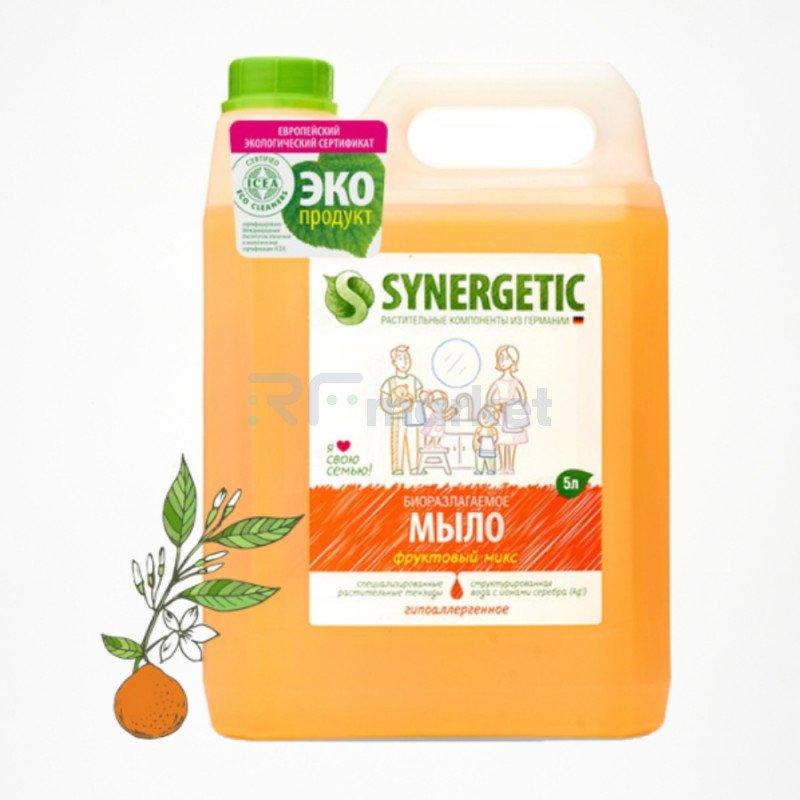 """Жидкое мыло Synergetic """"Фруктовый микс"""", гипоаллергенное, с эффектом увлажнения, 5 л"""
