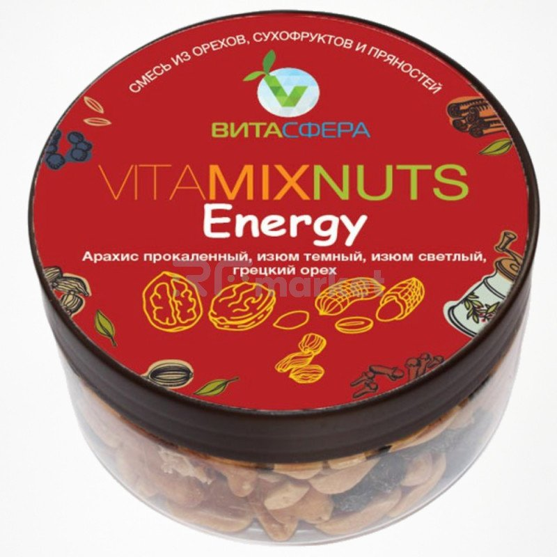 """Смесь орехов и сухофруктов """"Energy"""" Fruts&Nuts, ВитаСфера"""