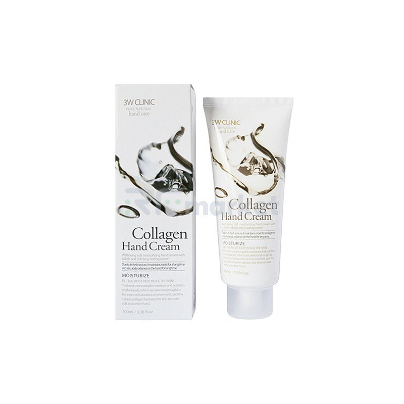 3W Clinic Крем для рук с морским коллагеном увлажняющий - Collagen hand cream, 100мл