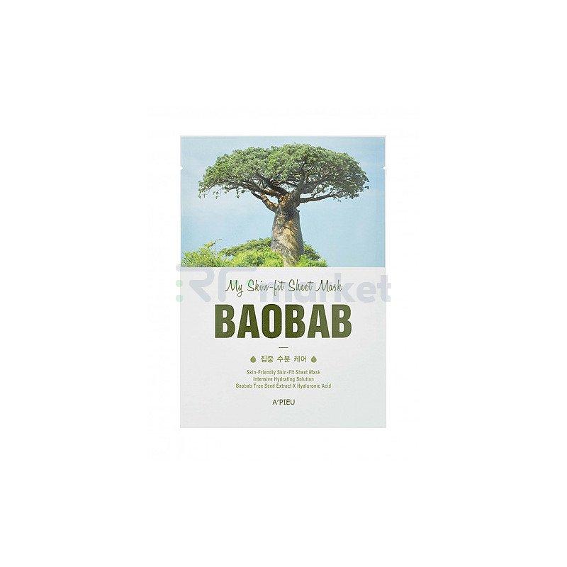 A'Pieu Маска тканевая с экстрактом баобаба - My skin-fit sheet mask baobab, 25г