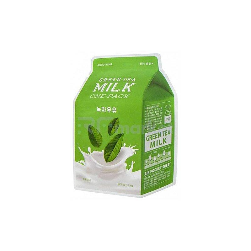 A'Pieu Маска тканевая успокаивающая с зеленым чаем и гамамелиса - Green tea milk one-pack, 21г