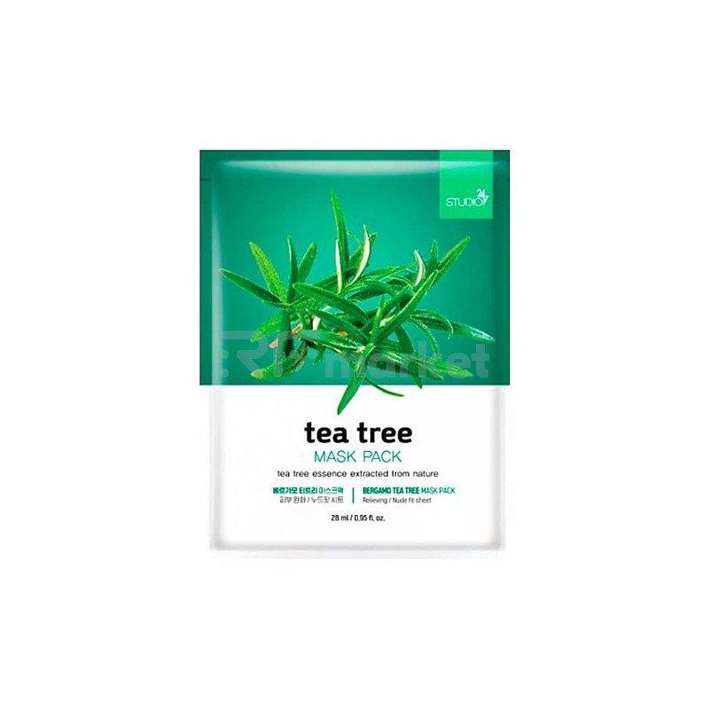 Bergamo Маска тканевая для лица с чайным деревом - Mask pack, 28мл