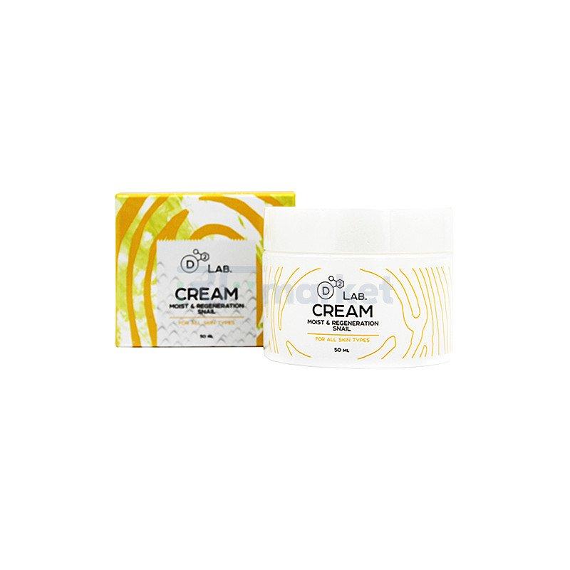 D2 Lab Крем для лица муцин улитки - Cream moist & regeneration snail, 50мл