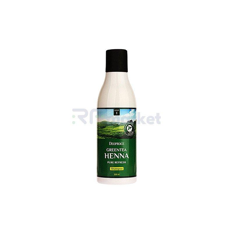 Deoproce Шампунь для волос с зеленым чаем и хной - Greentea henna pure refresh shampoo, 200мл