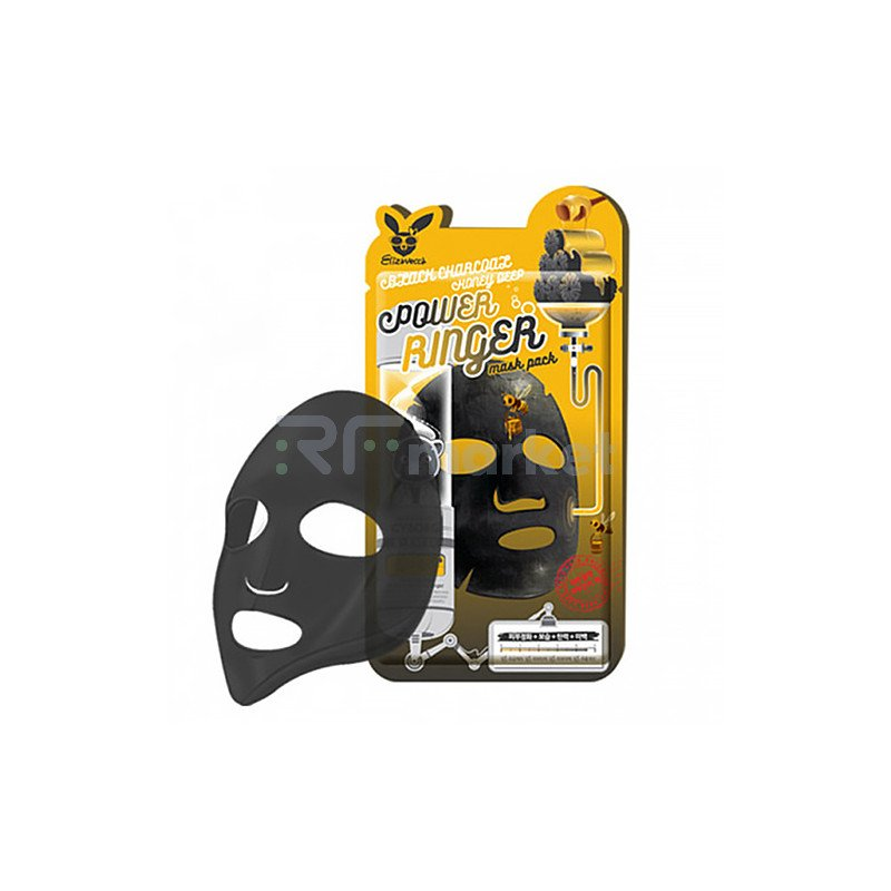 Elizavecca Маска тканевая с древесным углем и медом - Black сharcoal honey deep power mask, 23мл