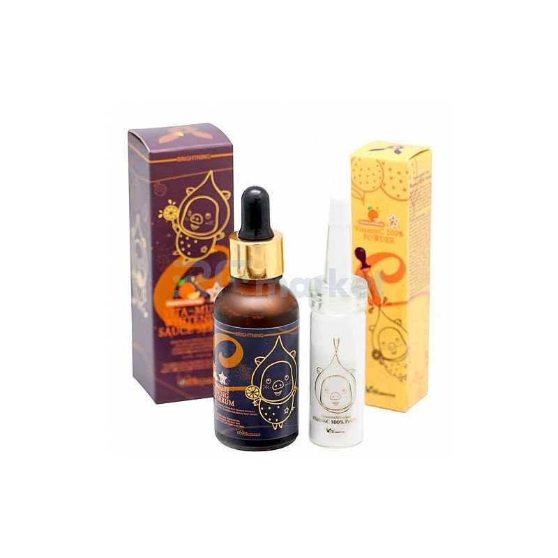 Elizavecca Набор для осветления - Vitamin C 100% powder + vita-multi whitening sauce serum, 12г+30мл