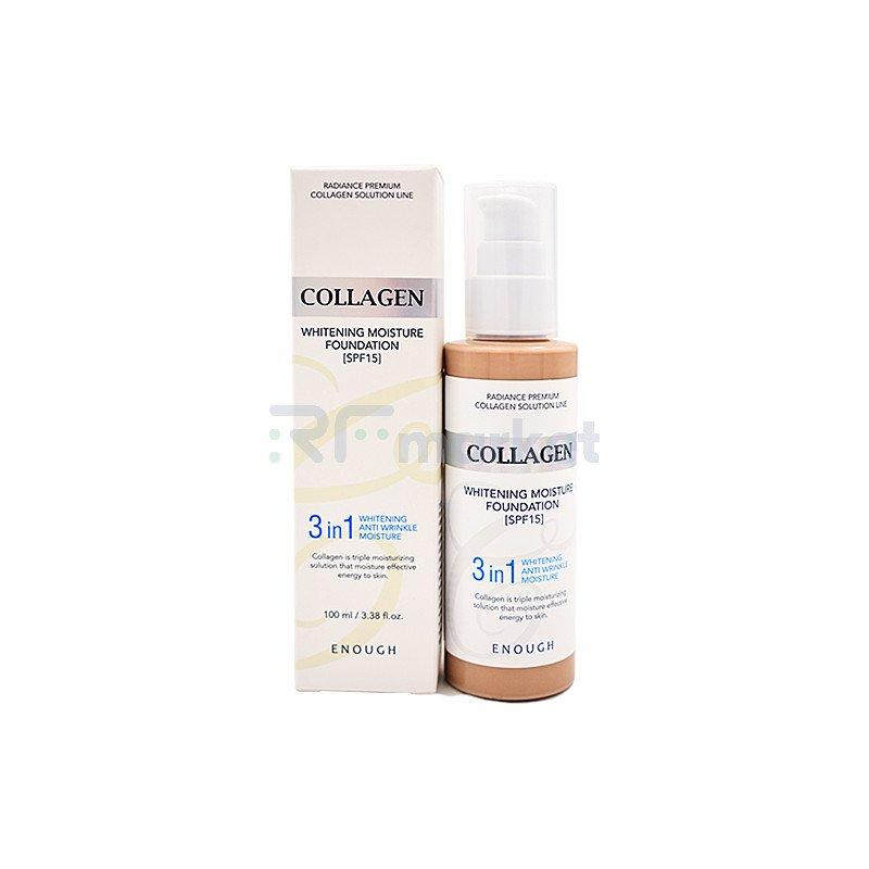 Enough Основа тональная с коллагеном 23тон - Collagen whitening foundation 3in1, 100мл