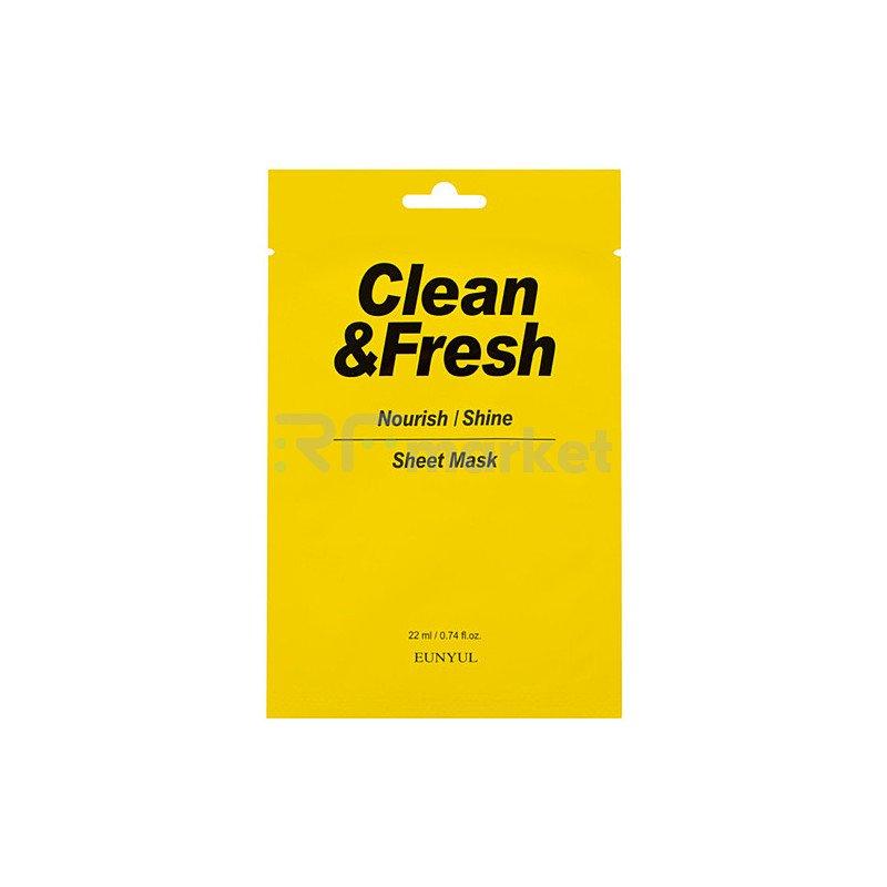 Eunyul Маска тканевая для питания и сияния кожи - Clean & fresh nourish-shine sheet mask, 22мл