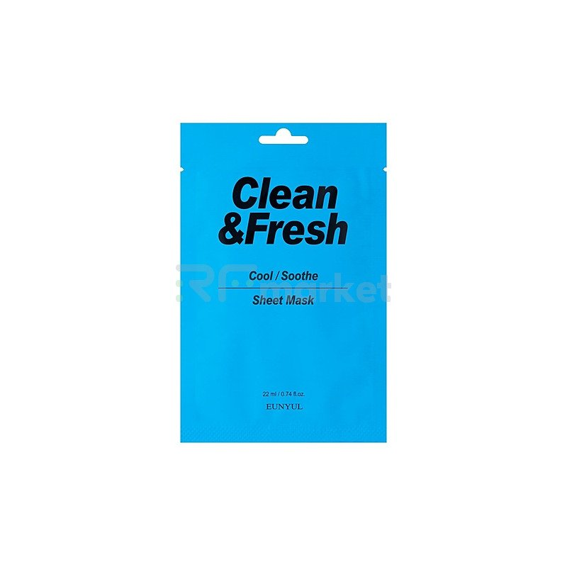 Eunyul Маска тканевая для охлаждающего и успокаивающего эффекта- Clean&fresh cool/soothe mask, 22мл
