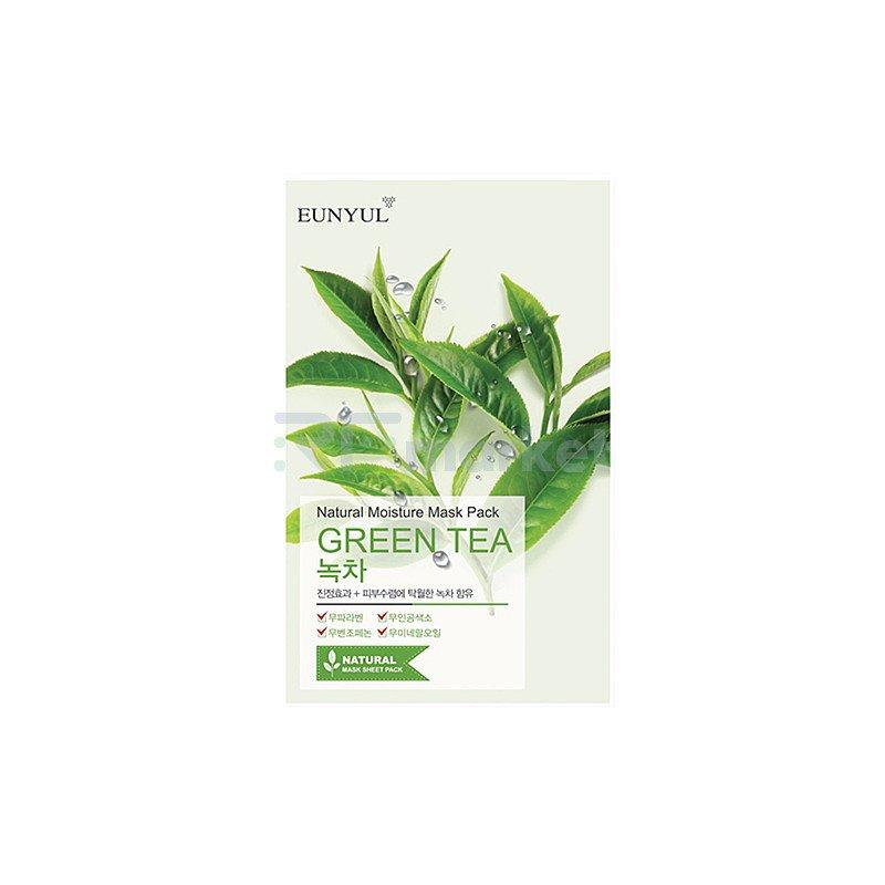 Eunyul Маска тканевая с экстрактом зеленого чая - Natural moisture mask pack green tea, 22г