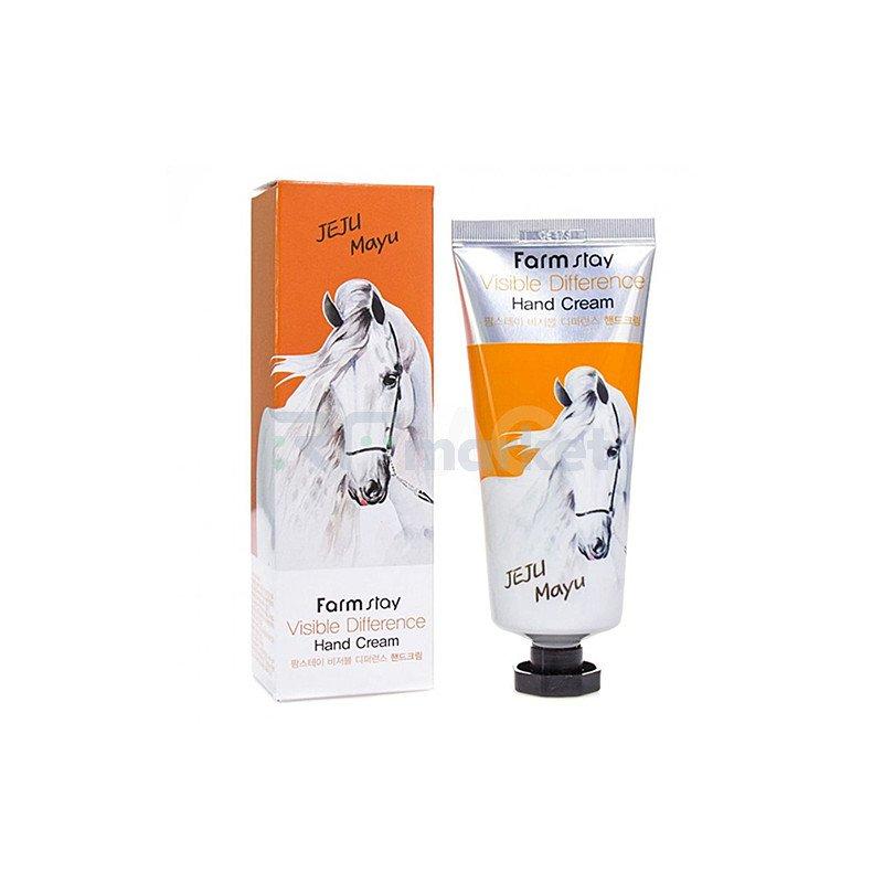 FarmStay Крем для рук с лошадиным маслом - Visible difference hand cream jeju mayu, 100г