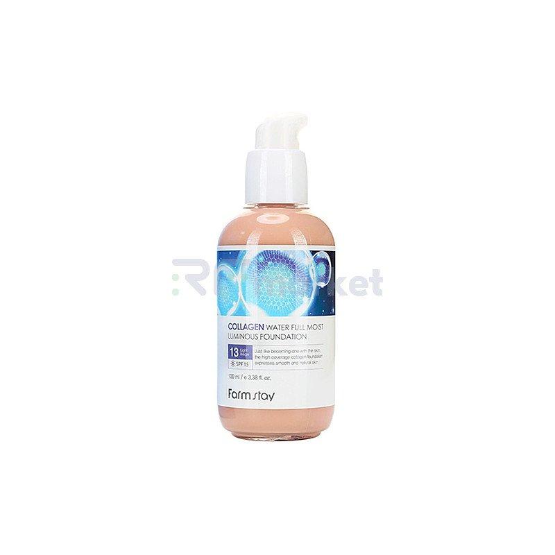 FarmStay Крем тональный коллагеновый 13тон - Collagen water full moist luminous foundation, 100мл