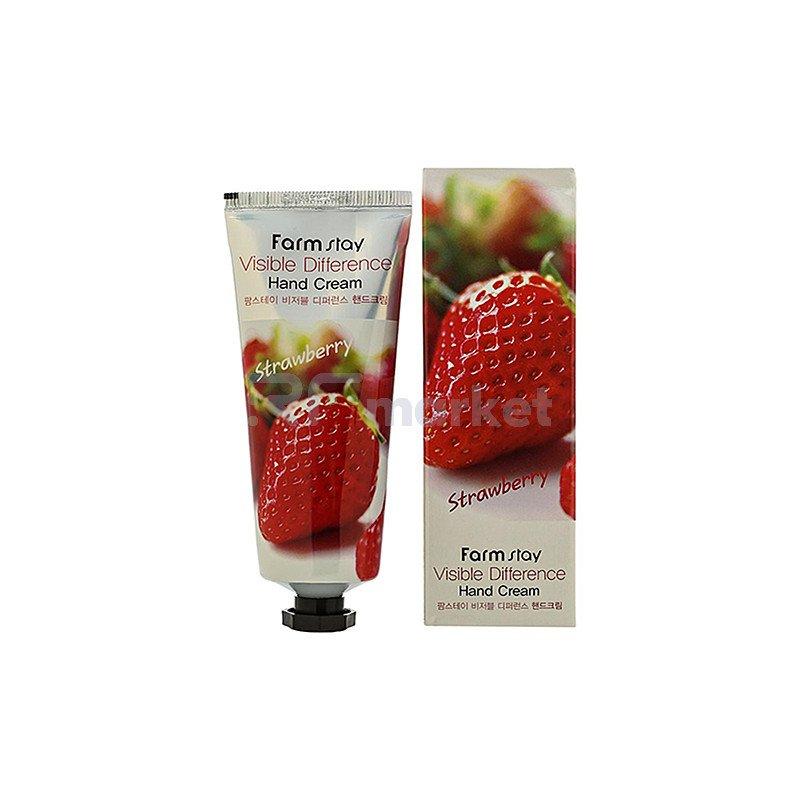 FarmStay Крем для рук с экстрактом клубники - Visible difference hand cream strawberry, 100г