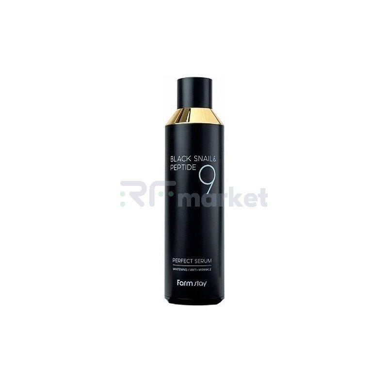 FarmStay Сыворотка с муцином черной улитки и пептидами - Black snail&peptide 9 perfect serum, 100мл