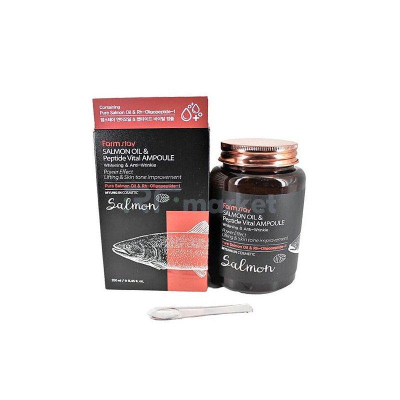 FarmStay Сыворотка многофункциональная с маслом лосося и пептидами - All-in-one ampoule, 250мл