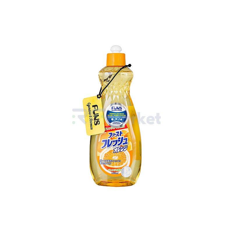 Funs Жидкость для мытья посуды, овощей и фруктов, свежий апельсин, 600мл