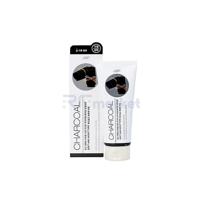 Jigott Гель-пилинг с древесным углем - Premium facial charcoal peeling gel, 180мл