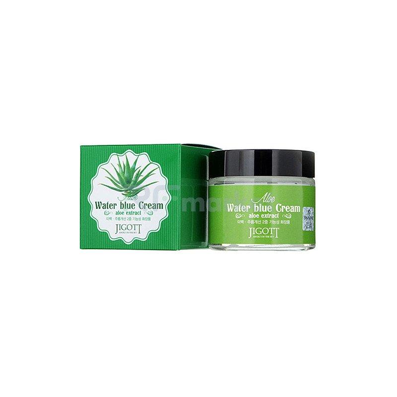 Jigott Крем успокаивающий с экстрактом алоэ - Aloe water blue cream, 70мл