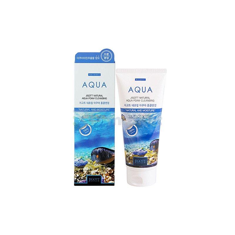 Jigott Пенка очищающая увлажняющая - Natural aqua foam cleansing, 180мл
