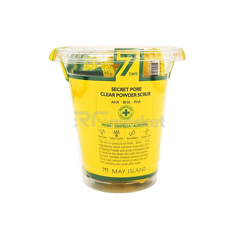 May Island Скраб для лица кислотный очищающий - 7Days secret pore clear powder scrub, 12шт* 5г