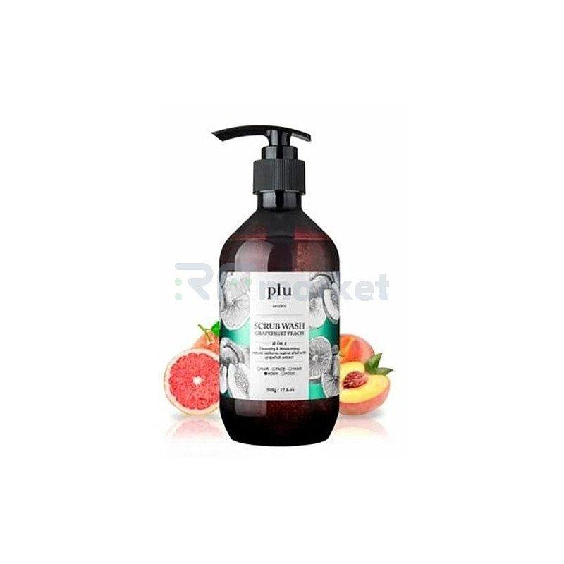 PLU Скраб-гель для душа персик и грейпфрут – Scrub wash grapefruit peach, 500г