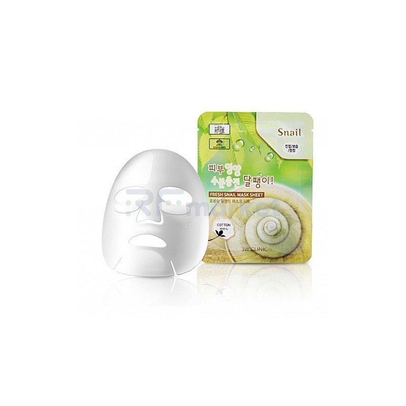 3W Clinic Маска тканевая для лица муцин улитки - Fresh snail mucus mask sheet,  23мл