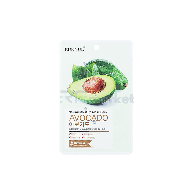Eunyul Маска тканевая с экстрактом авокадо - Natural mosture mask pack avocado, 22мл