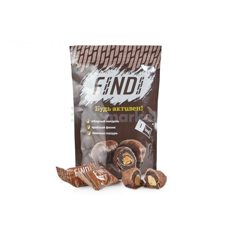 Финики с миндалем в шоколадной глазури Findi MILK, 150 гр