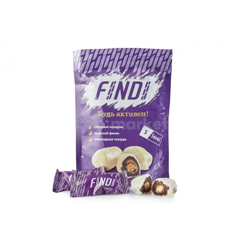 Финики с миндалем в шоколадной глазури Findi WHITE, 150гр