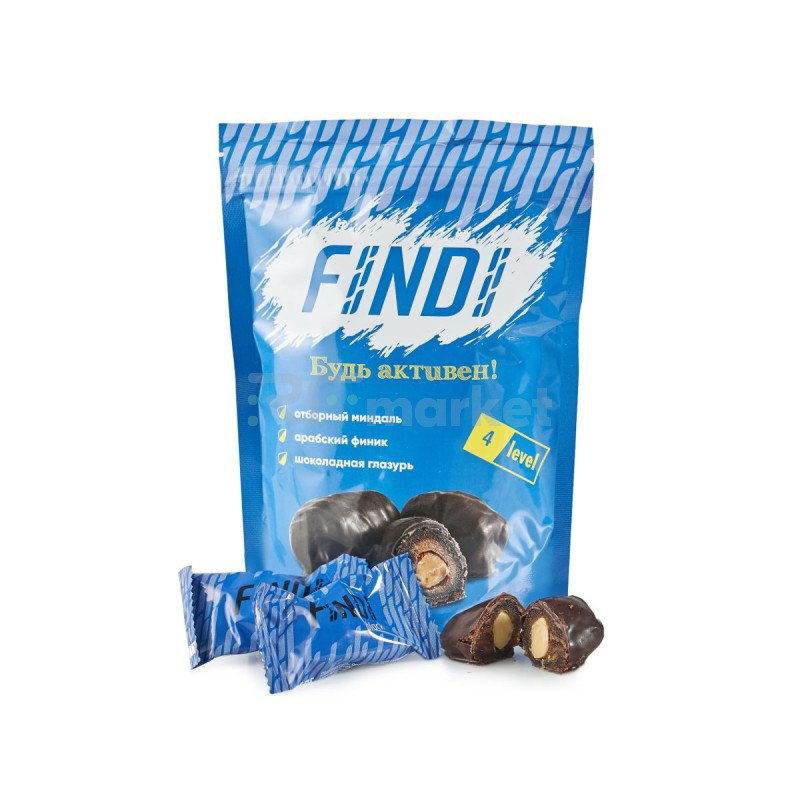 Финики с миндалем в шоколадной глазури Findi BLACK 250гр