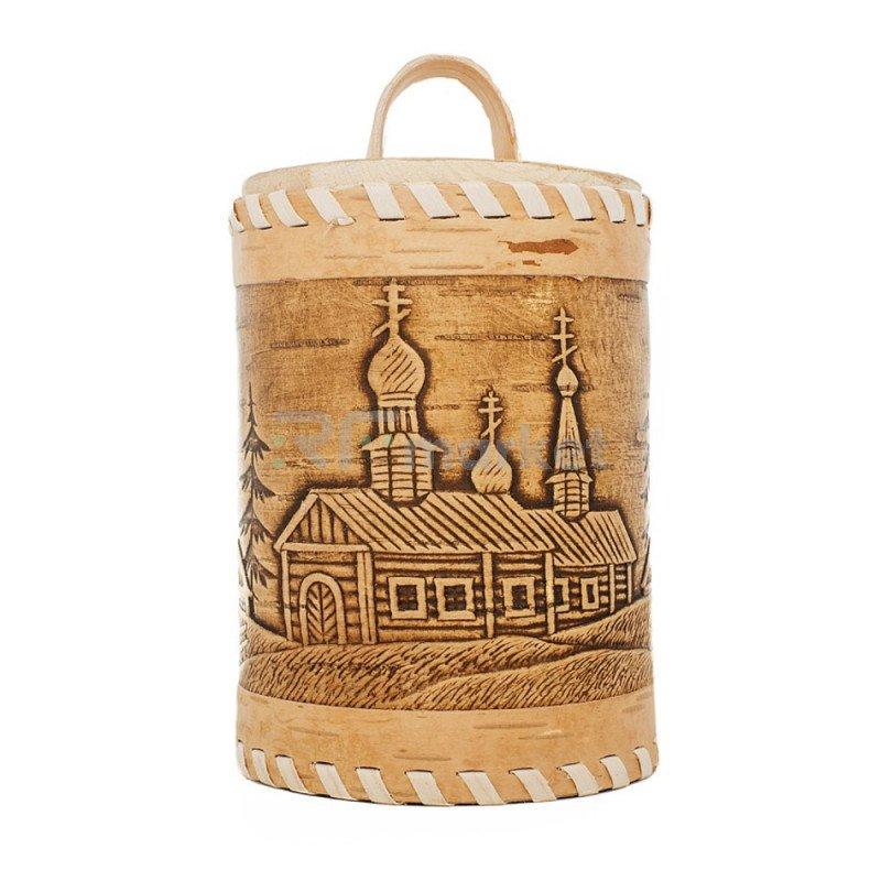 Подарочная упаковка №2, Туесок Тайга с баночкой мёда, 500 гр.
