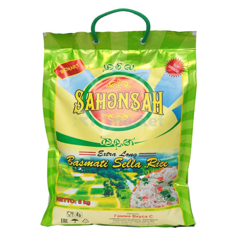 Рис пропаренный Басмати Shahenshah, 5 кг