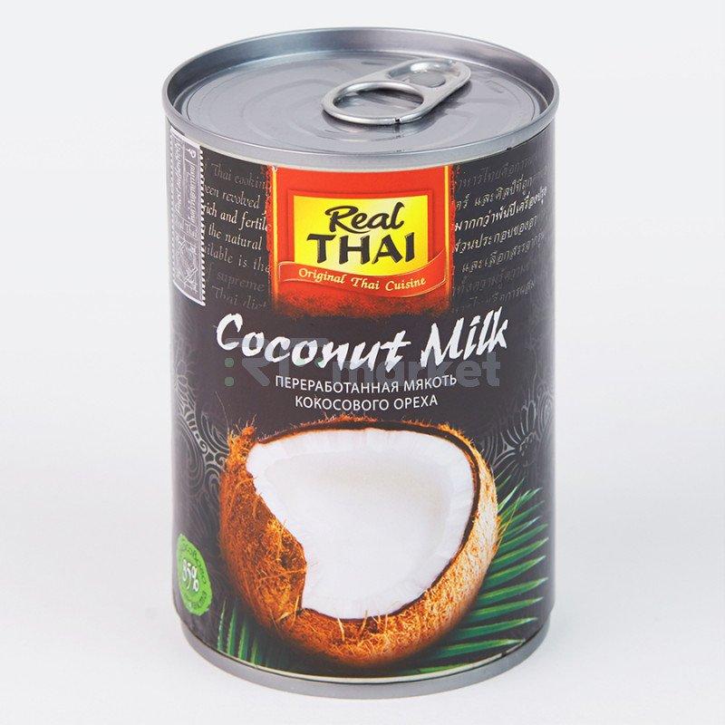 """Кокосовое молоко 400 мл, ж/б """"REAL THAI"""" (растительные жиры 17-19%) 85%  мякоти"""
