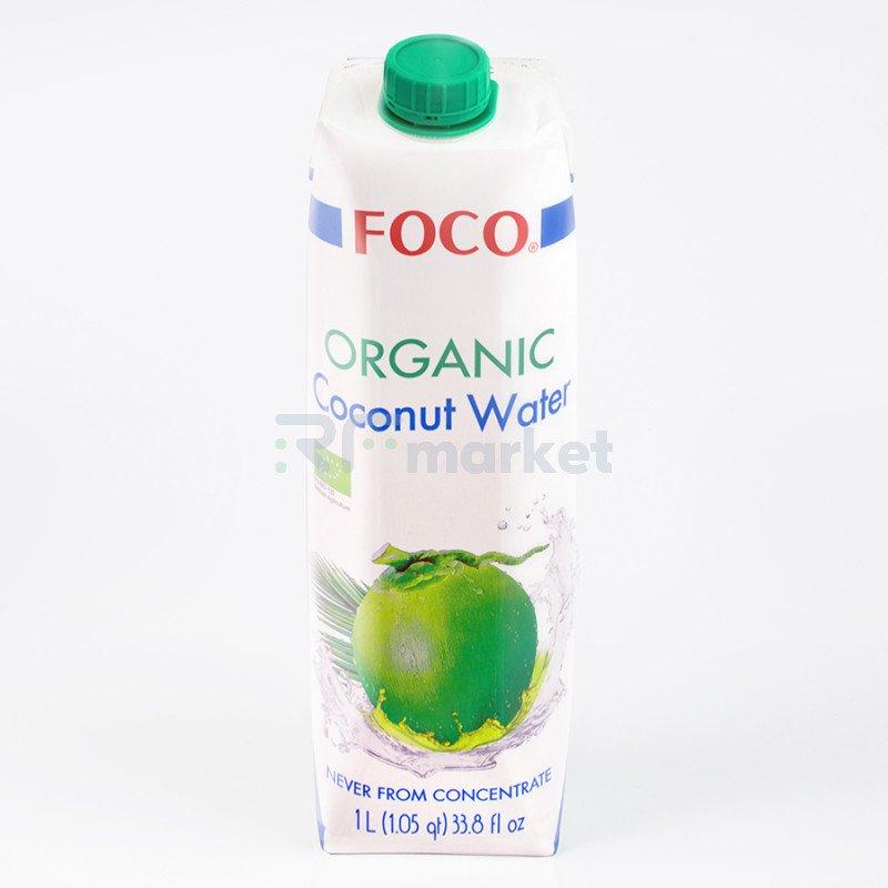 """Органическая кокосовая вода """"FOCO"""" 1л, БЕЗ САХАРА, ( USDA organic)"""