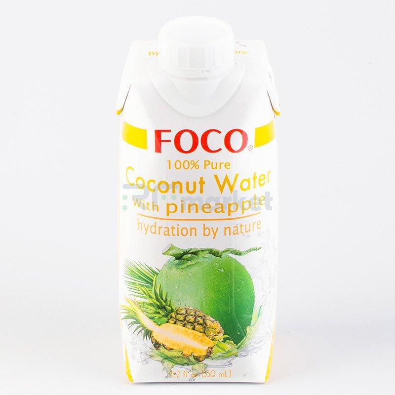 """Кокосовая вода с соком ананаса """"FOCO"""" 330 мл Tetra Pak 100% натуральный напиток, БЕЗ САХАРА"""
