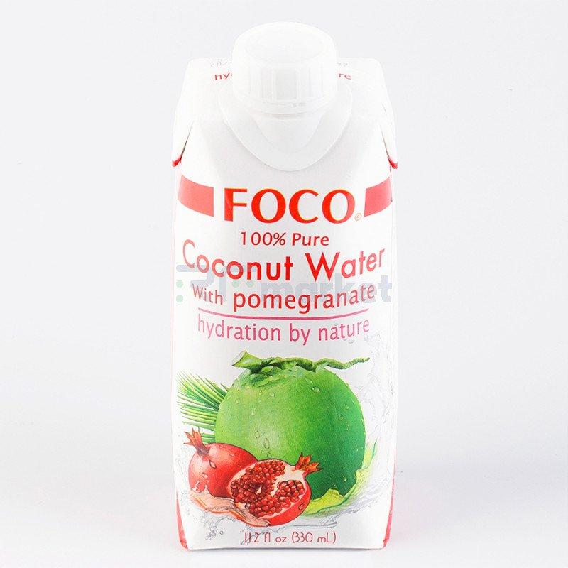 """Кокосовая вода с соком граната """"FOCO"""" 330 мл Tetra Pak 100% натуральный напиток, БЕЗ САХАРА"""